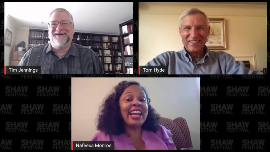Tim Jennings, Tom Hyde and Nafeesa Monroe in a virtual Shaw Encounters discussion